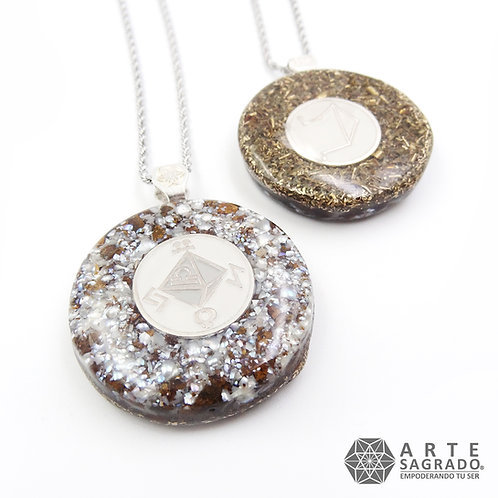 Collar orgón doble vista LIBRA cuarzo perla/bronzita plata 0.925