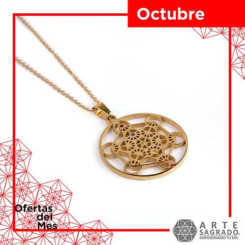 """Collar #LuzDivina """"Cubo de Metatrón"""" con 7 Chakras"""