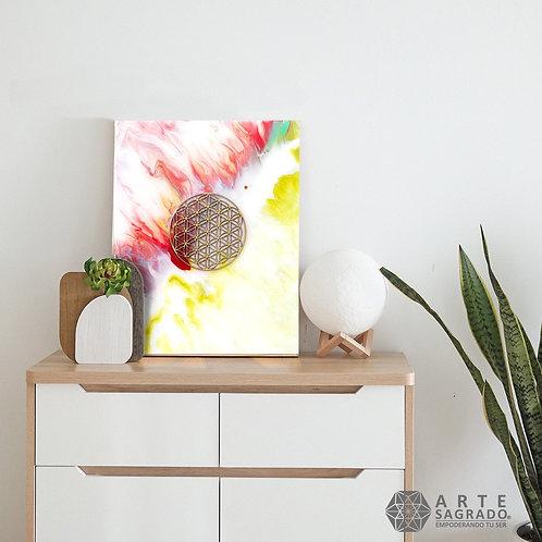 """Pintura Abstracta FLOR DE LA VIDA """"Matiz de Vida"""""""