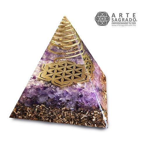 Orgonita pirámide SEMILLA DE LA VIDA cuarzo amatista