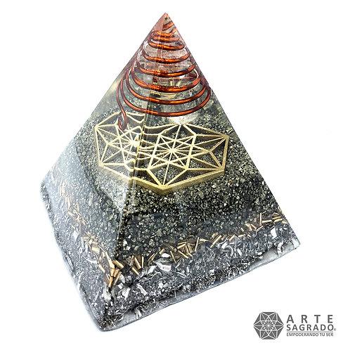 Orgonita pirámide VECTOR EN EQUILIBRIO cuarzo pirita