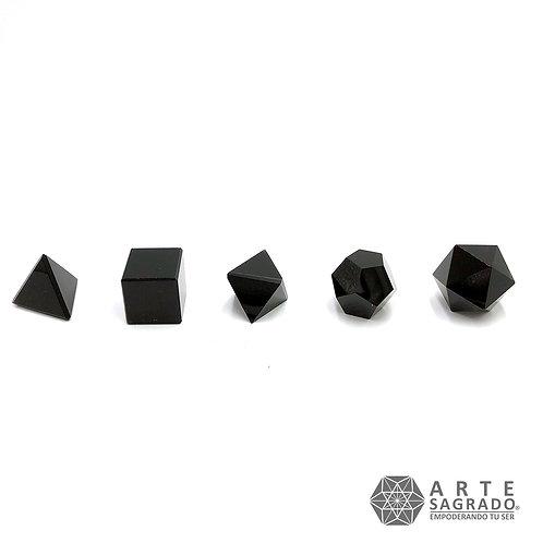 Sólidos platónicos cuarzo obsidiana negra