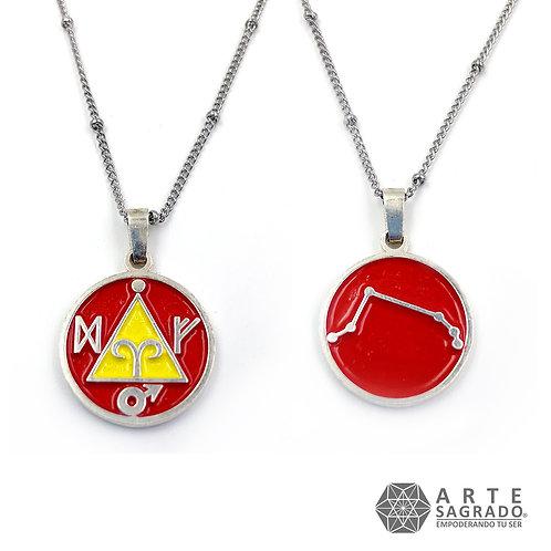 Medallita doble vista ARIES plata 0.925