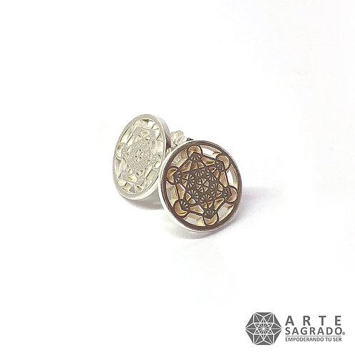 Aretes CUBO DE METATRÓN mariposa plata 0.925
