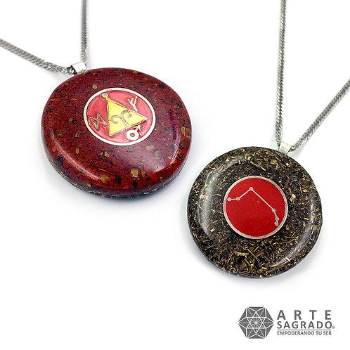 Collar orgón doble vista ARIES cuarzo jaspe rojo/ojo de tigre plata 0.925