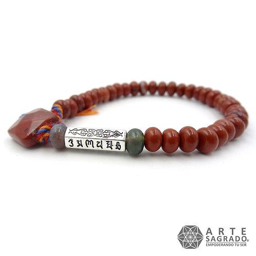 Pulsera tibetana OM MANI PADME HUM Jaspe rojo