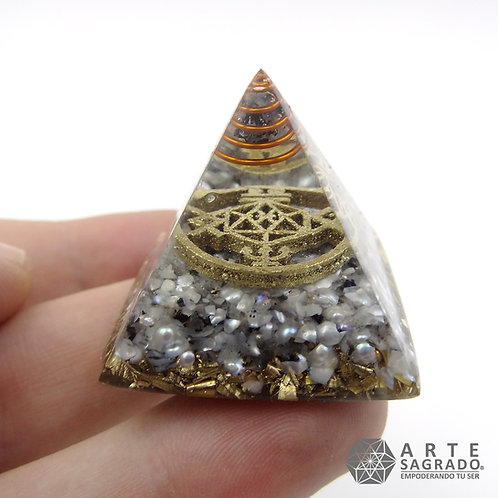Mini orgonita pirámide PISCIS cuarzo labradorita y Perla