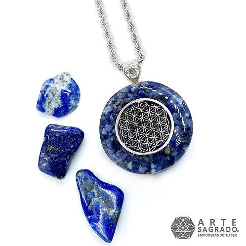 Mini collar de poder orgón FLOR DE LA VIDA plata 0.925 cuarzo lapislázuli