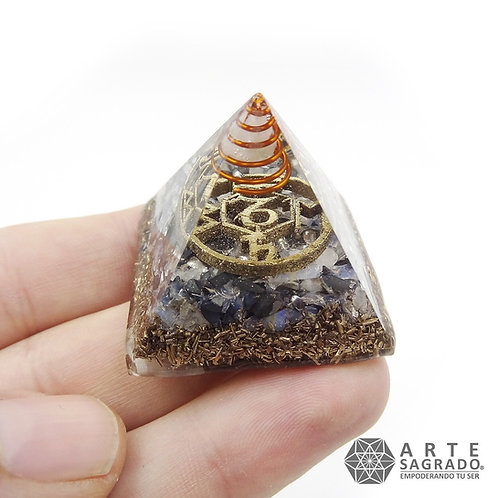 Mini orgonita piramide CAPRICORNIO cuarzo piedra luna/Hematita