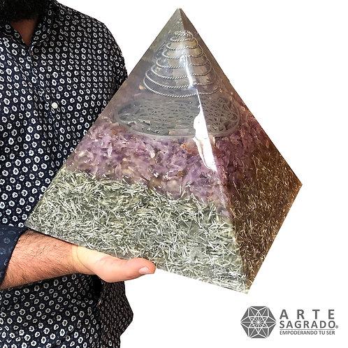 Mega orgonita piramide CUBO DE METATRÓN cuarzo amatista