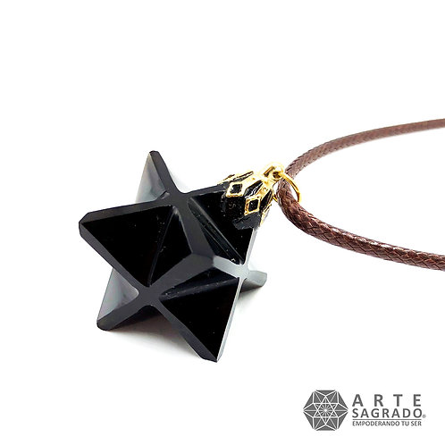 Collar MER-KA-BAH 3D cuarzo obsidiana negra
