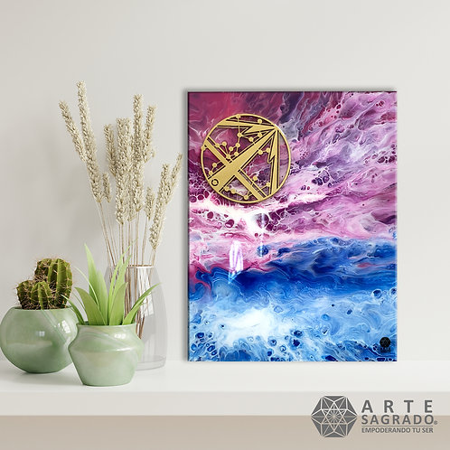 """Pintura Abstracta """"Fuego cósmico"""""""