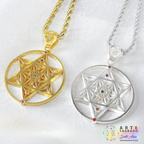 """Collar Aniversario """"7"""" chakras en plata 0.925 y chapa de Oro"""