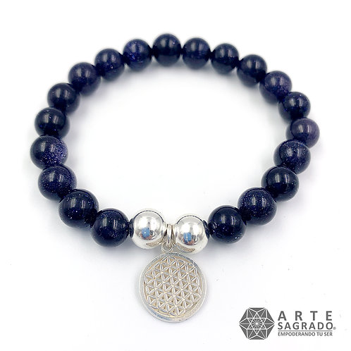 Pulsera cuarzo aventurina azul FLOR DE LA VIDA plata 0.925