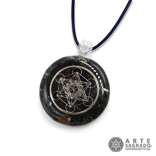 Mini collar de poder orgón CUBO DE METATRÓN plata 0.925  cuarzo turmalina negra