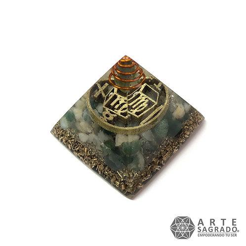 Mini orgonita pirámide VIRGO cuarzo amazonita / ágata musgosa