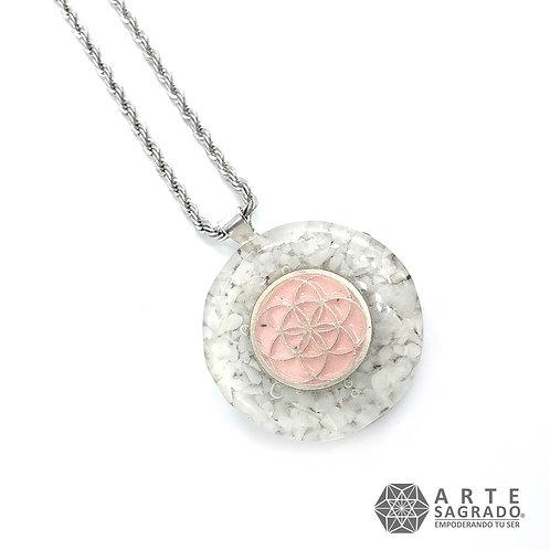 Mini collar de poder orgón SEMILLA DE LA VIDA plata 0.925 cuarzo blanco puro