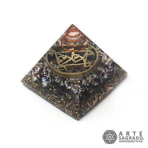 Mini orgonita pirámide LIBRA cuarzo perla/bronzita