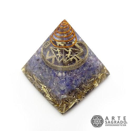 Mini orgonita piramide SAGITARIO cuarzo amatista/sodalita