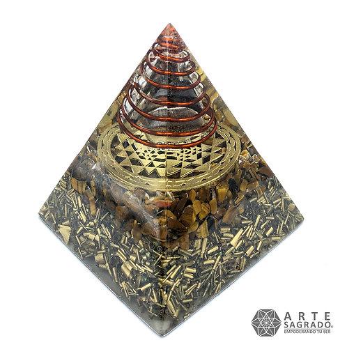 Orgonita pirámide  SRI YANTRA cuarzo ojo de tigre