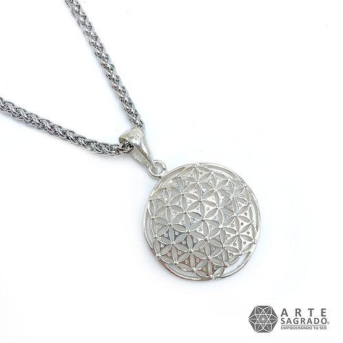 Collar FLOR DE LA VIDA cóncava plata 0.925