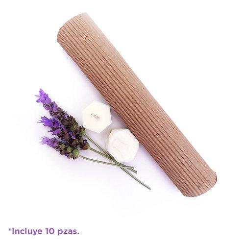Kit 10 velas aceite esencial lavanda para masaje / cargador orgón