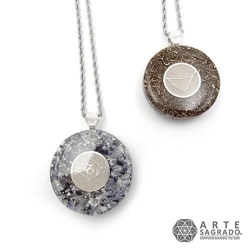 Collar orgón doble vista CAPRICORNIO cuarzo piedra luna/Hematita plata 0.925