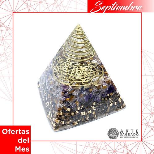 Orgonita pirámide CUBO DE METATRÓN cuarzos amatista y ojo de tigre