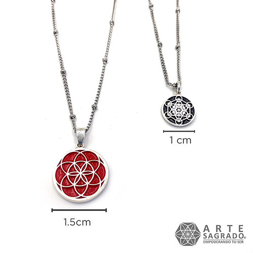 Mini collar doble vista CUBO DE METATRÓN/SEMILLA DE LA VIDA plata 0.925