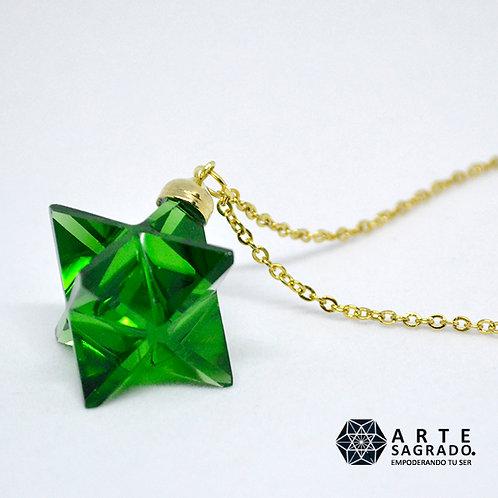 Collar MER-KA-BAH 3D cuarzo obsidiana verde