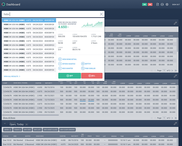 Trading Dashboard - Search