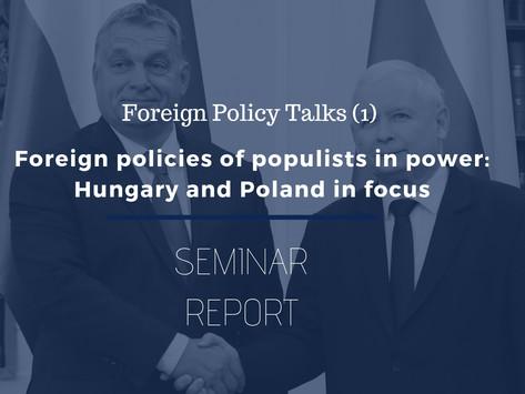 FPT (1) Seminer Raporu: İktidardaki Popülistlerin Dış Politikası - Macaristan ve Polonya örnekleri