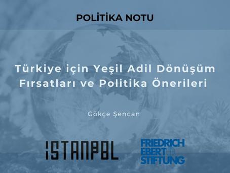 Türkiye için Yeşil Adil Dönüşüm Fırsatları ve Politika Önerileri