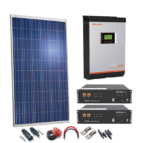 Kit Solar 24v 660w Inversor Híbrido con batería de Litio