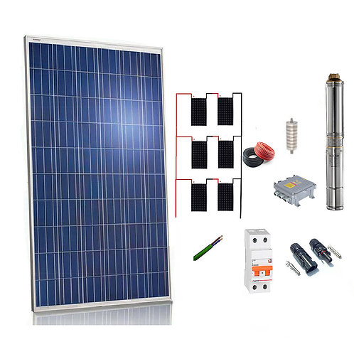 Solar kit Pumping 1100w / 1.5cv Max. 3300 Liters / hour Height 106 meters