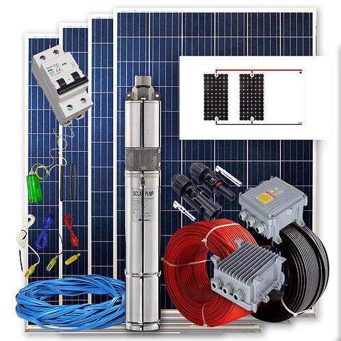 Solar kit Pumping 400w - 2 / 4cv Flow max. 1600 Liters / hour Height 80 meters