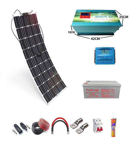 Solar kit 12v Flexible Solar Panel 150W Inverter 2000w with 35A Charger