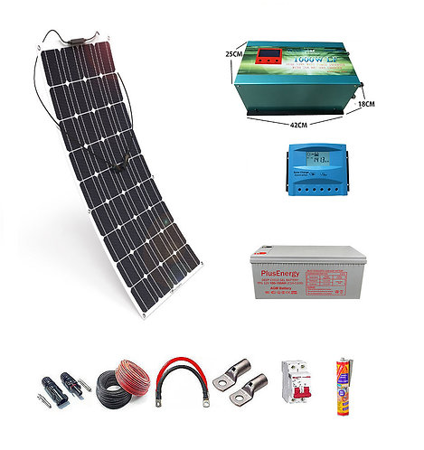 Solar kit 12v Flexible Solar Panel 150W 1000w Inverter with 25A Charger
