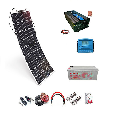 Kit solar 12V Panel Solar Flexible 150W Inversor con mando 1000W