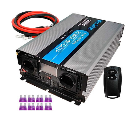 Solar Wechselrichter 2000w 12V Pure Wave LCD + Controller + 16mm2 WccSolar Kabel