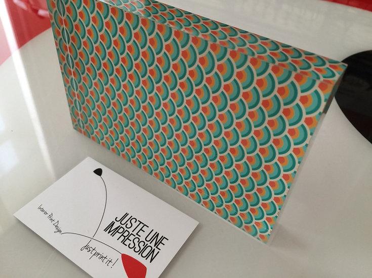 """bloc plexiglass motif japonais """"soleil couchant"""""""