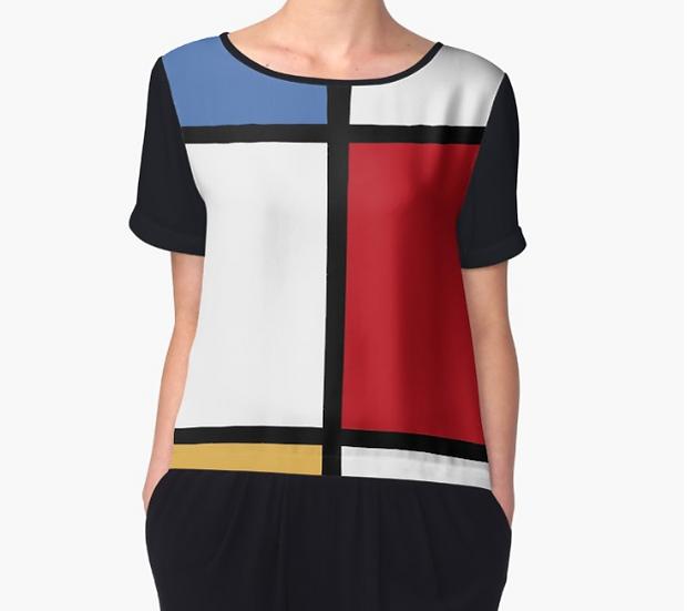 Top mousseline imprimé inspiration Mondrian