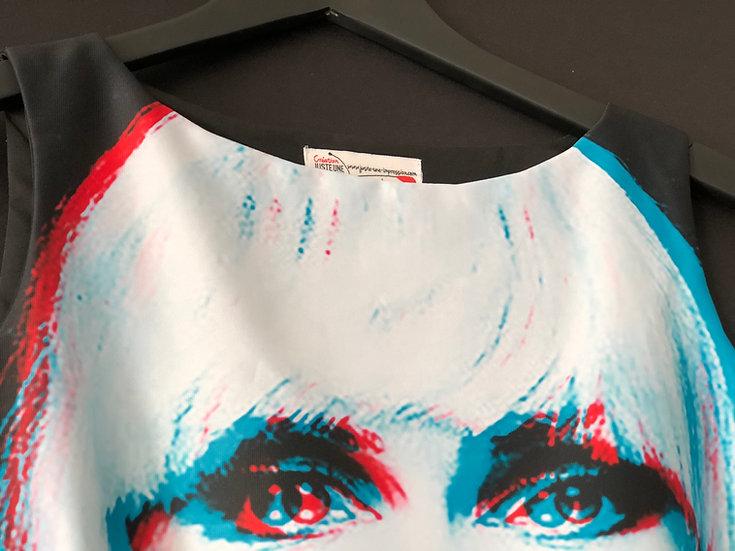 robe Blondie in Black effet 3D / Debbie Harry iconic dress 3D effect blue/red