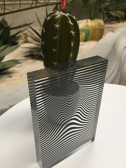 bloc plexiglass imprimé motif cinétique-optique noir/transparent by Juste une
