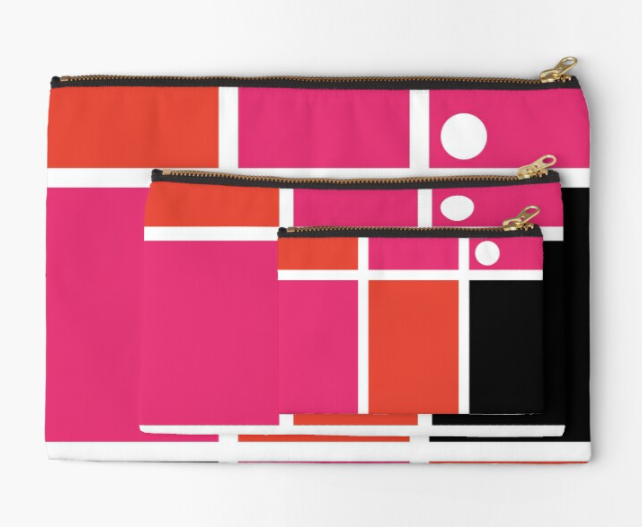 Pochette mondrian revisité orange/rose/blanc/noir