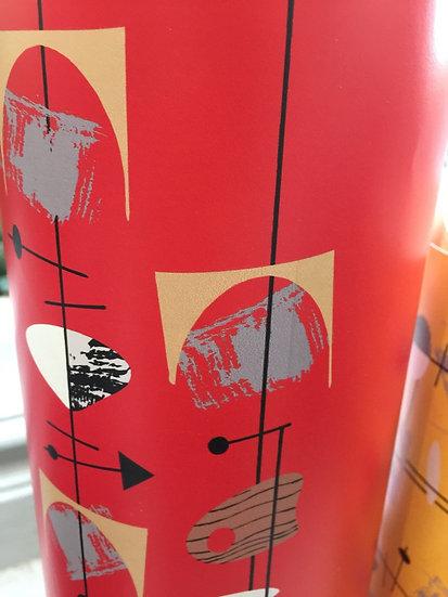 Papier peint rétro/vintage motif mid-century fond rouge vif