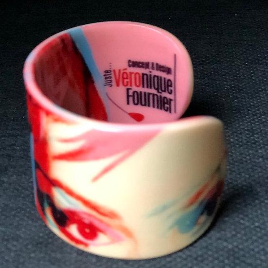 "bracelet manchette ""Blondie""/Debbie Harry 3D rose/rouge"