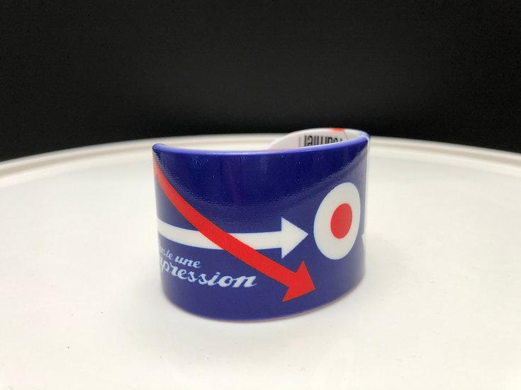 bracelet manchette cocarde fond bleu
