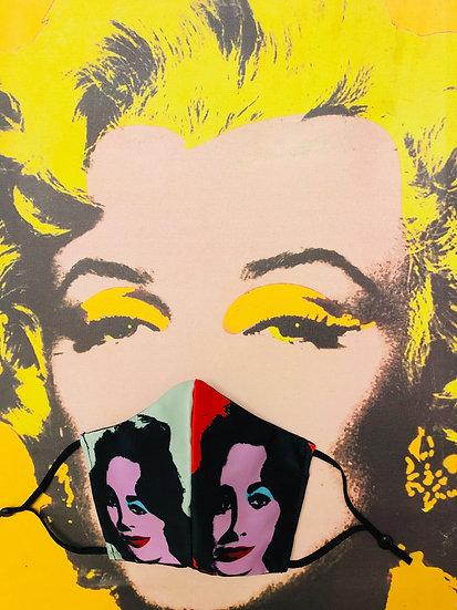 Masque tissu imprimé Liz Taylor façon Andy Warhol
