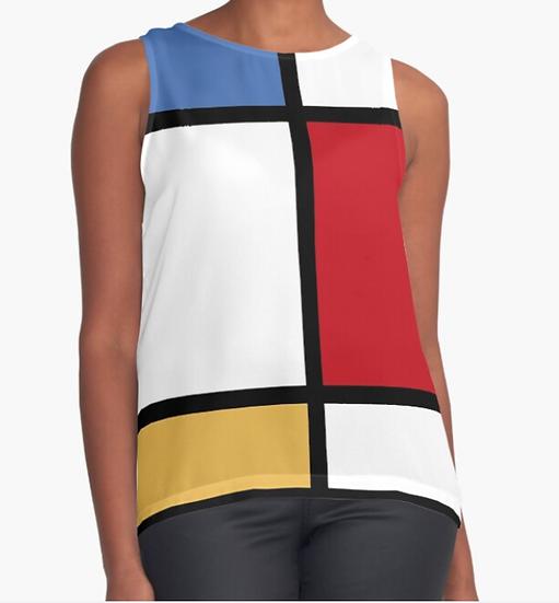 top sans manche/débardeur imprimé inspiration Mondrian version 2 dos blanc